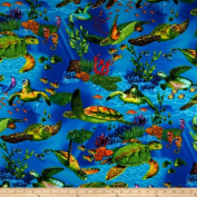 Timeless Treasures Sea Turtles Dark Blue Fabric