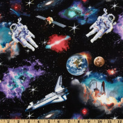 In Space Astronauts Black Fabric