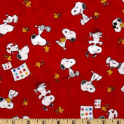 Peanuts-Project Linus Snoopy & Woodstock Toss Red Fabric