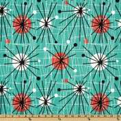 Michael Miller Mid-Century Modern Atomic Turquoise Fabric