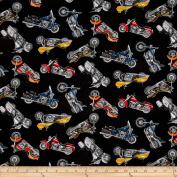 Man Cave II Motorcycle Black Fabric
