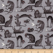 Oddities Cats Allover Grey Fabric
