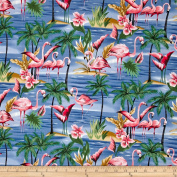 Hoffman Tropical Collection Flamingo Blue Fabric