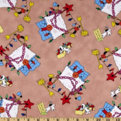 Christmas Time Peanuts Decorations Tan Fabric