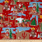 Howdy Holiday Red Fabric