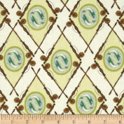 Little Rivers Fish Medallion Argyle Tan Fabric