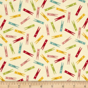 Wash Day Clothespins Cream Fabric