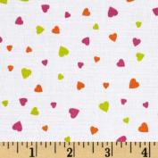 XOXO Mini Hearts White Fabric