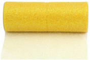 Kel-Toy Glitter Tulle Fabric, 15cm by 10-Yard, Lemon Yellow