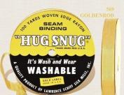 "Hug Snug Seam Binding 100-yds Roll ½"" Wide Hug Snug ~ 569 Goldenrod ~ 100 percentage Woven-edge Rayon ~ Wash 'n Wear ~ made in USA"