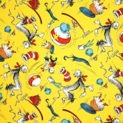 Robert Kaufman Dr. Seuss The Cat In The Hat Tossed Celebration Yellow, 44-inch (112cm) Wide Cotton Fabric Yardage