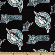 MLB Fleece Florida Marlins Allover Black/Teal Fabric
