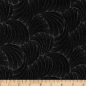 Downton Abbey Lady Mary Leaf Tonal Black Fabric