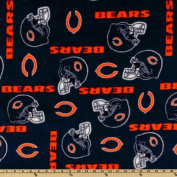 NFL Fleece Chicago Bears Blue/Orange Helmets Fabric