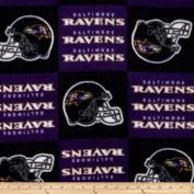 NFL Fleece Baltimore Ravens Squares Black/Purple Fabric