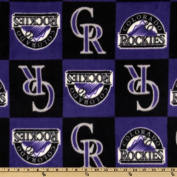 MLB Fleece Colorado Rockies Squares Purple/Black Fabric