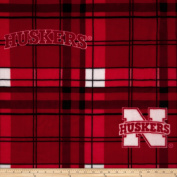 Collegiate Fleece University of Nebraska Plaid Camo Fabric