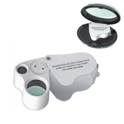 Baakyeek LED Mini Dual Magnifier Glass, 30x22mm, 60x12mm