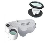Baakyeek LED Mini Dual Magnifier Glass, 30x22mm, 60x12mm