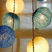 Cotton Ball String Light Set (White,Blue & Drak Blue Colour) with White Cord for Birthday Party Decorating, Garden Party Decorations or Wedding Lights Product of Thailand