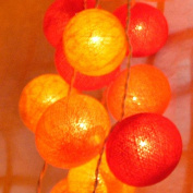 Cotton Ball String Light Set (Yellow,Orange & Red Colour) with White Cord for Birthday Party Decorating, Garden Party Decorations or Wedding Lights Product of Thailand