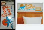 """Hip in a Hurry Peel-n-Stick Orange & Blue Wall Words & Surfing Graphics """"Gone Surfing"""""""