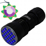 HQRP Professional 21 UV LED Ultraviolet Flashlight for Examining Artwork and Glass for Hidden Repairs plus HQRP UV Metre