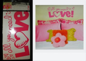 "Hip in a Hurry Peel-n-Stick Pink Wall Words & Graphics - ""All you need is LOVE"""