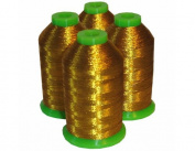 4-cone Metallic Polyester Core Embroidery Thread Kit - Dark Gold - 1100 yards - 40wt