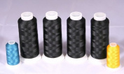 New Threadsrus 4 Extra Large Spools of Black Bobbin Thread - 5000 Mts Each