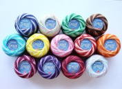 Free Ship Lot 13 Balls of Torcal Variegated Size 5 Perle/pearl Cotton Threads for Crochet, Hardanger, Cross Stitch, Needlepoint Hand Embroidery