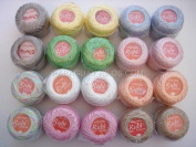 Lot 30 Balls Pastel Shades Size 8 Perle/pearl Cotton Threads for Crochet, Hardanger, Cross Stitch, Needlepoint and Other Hand Embroidery Crafts