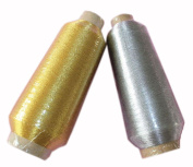 Set of 2, 1 Gold & 1 Silvery Spools Polyester Sewing Thread 5000 Yard