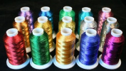 New Threadsrus 15 Metallic Machine Embroidery Threads Cones