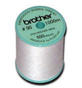 Brother 5 Pack EBTPE 90-Weight Embroidery Thread, White