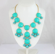 Turquoise Bubble Necklace,Handmade Bib Necklace,Statement Necklace
