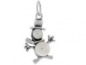 Pack of 1 Sterling Silver Charm Snowman with Scarf