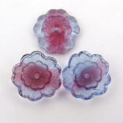Red Purple Transparent Glass Flower Beads Round Centre Hole 18mm, 3 Pcs