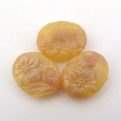 Pink Beige Opaque Glass Two Hole Floral Beads 20mm, 3 Pcs