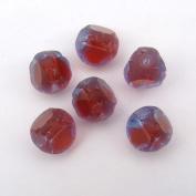 Blue Red Purple Glass Window Beads Three Cut Round 11mm, 6 Pcs