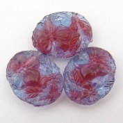 Red Blue Glass Two Hole Floral Beads 20mm, 3 pcs
