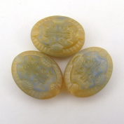 Blue Beige Oval Glass Beads 21mm, 3 Pcs
