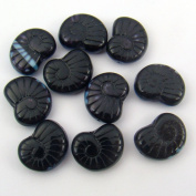 Opaque Black and Blue Czech Glass Nautilus Beads 17mm, 10 Pcs