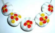 Handmade Lampwork Glass Summer Flower Beige Stripe Jewellery Beads