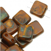 Czech Glass 2-Hole Square Beads 6mm 'Opaque Yellow Picasso'
