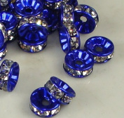 7mm Rhinestone Disc Beads Blue 36pcs