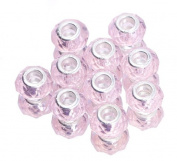 EOZY 20pcs Pink Transparent 9*14mm Faceted Crystal Double Cores Bling Faceted Crystal Glass Jewellery Silver Plated Murano European Spacer Loose Beads for Bracelet Necklace