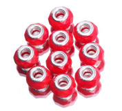 EOZY 20pcs Bright Red 9*14mm Faceted Crystal Double Cores Bling Faceted Crystal Glass Jewellery Silver Plated Murano European Spacer Loose Beads for Bracelet Necklace