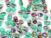 20gr Czech Two Hole Seed Beads SuperDuo 2,5x5 mm OPAQUE TURQUOISE GREEN VITRAIL