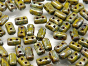 Czech Glass Two-Hole Seed Beads RULLA 3x5mm 20gram OPAQUE GREEN PICASSO